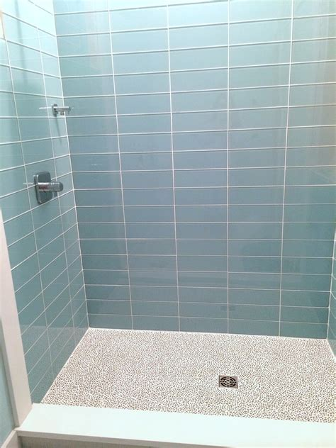 blue subway tile bathroom blue glass tile shower www pixshark com images
