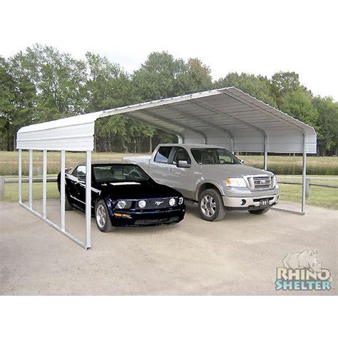 2 Vehicle Carport Rhino Shelter 2 Car Steel Carport 22 Wx24 Lx12 H