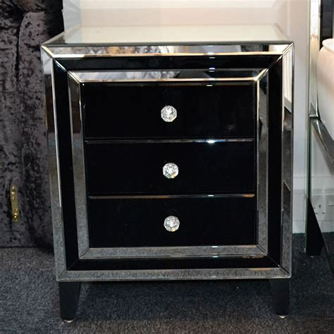 black bedside table ls merrick black glass mirrored diamante 3 drawer bedside