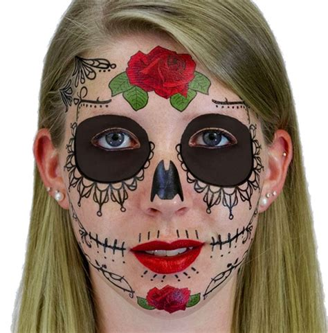 sugar skull face tattoo lace sugar skull day of the dead temporary