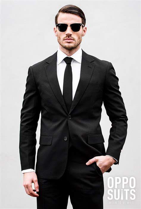Black Formal Style Suit 41444 black solid black suit black suit opposuits