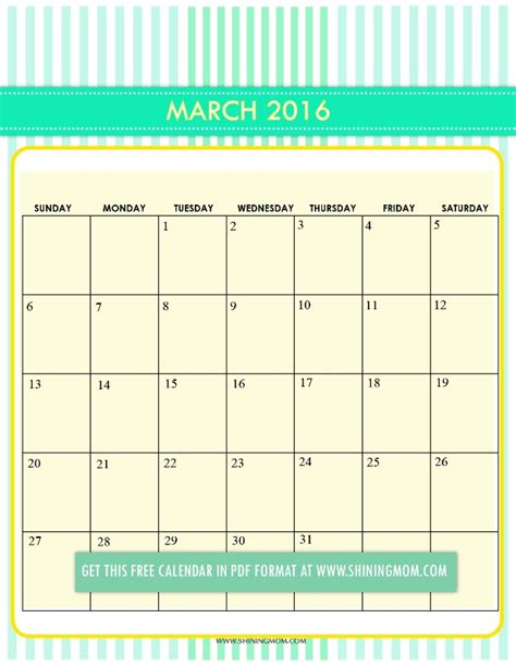 online printable calendar march 2016 2016 march printable chevron calendar template 2016