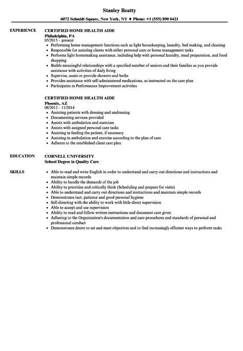 Certified Home Health Aide Resume Sles Velvet Jobs Aide Resume Template