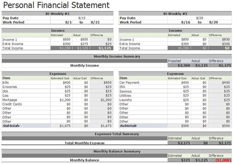 personal financial statement 40 personal financial statement templates forms