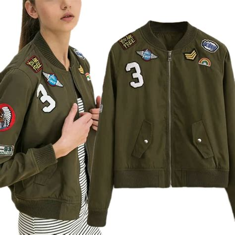 Bomber Pacht Army Ml fashion army green bomber jackets coat flight suit casual print jacket embroidered