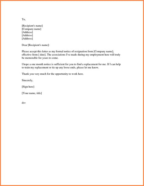 Resignation Letter One Month Notice Doc 8 Exle Of Notice Letter To Employer Notice Letter