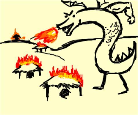 man dragon burning village huts drawing by notakoala