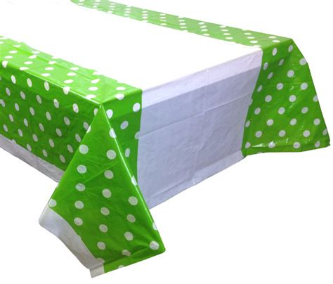 large green apple polka dot plastic tablecloth