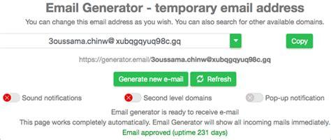 fake email generators   temp email address