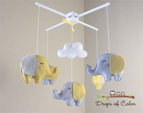 elephant mobile baby mobile elephant mobile yellow and gray baby crib