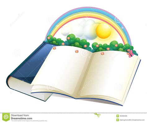 A Storybook a storybook with a rainbow and plants stock vector image