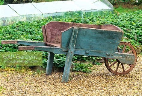 wooden vegetable garden gap gardens wooden wheelbarrow in the vegetable