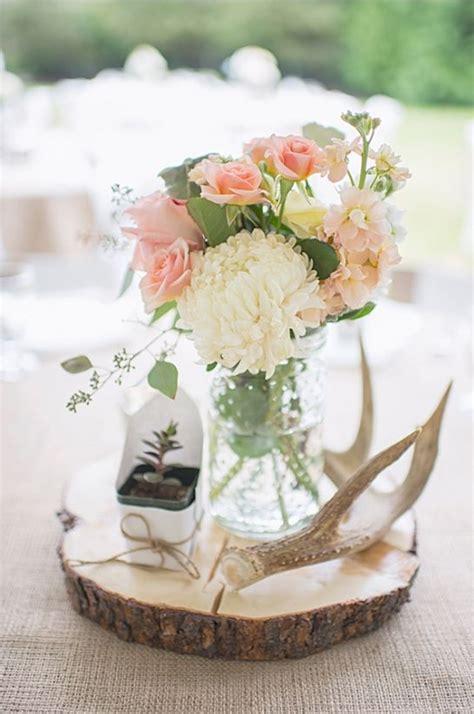 diy rustic wedding centerpieces rustic wedding table decor ideas anltler and flower centerpieces