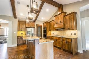 attractive Rustic Kitchen Island Light Fixtures #1: 2-Faux-Wood-Beams-Kitchen-870x579.jpg