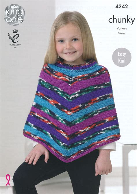 poncho knitting pattern chunky chunky knitting pattern king cole easy knit poncho