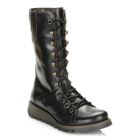 Wedge Mid Calf Boots fly womens black mid calf leather boots wedge heel