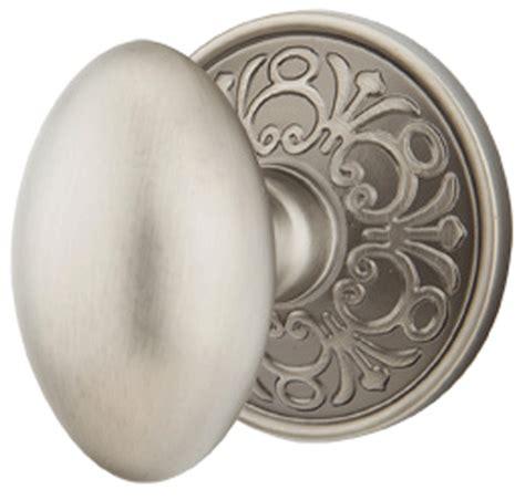 solid brass egg door knob set with lancaster rosette