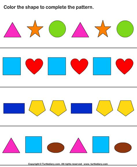 learning pattern quiz complete shapes pattern by coloring worksheet turtle diary