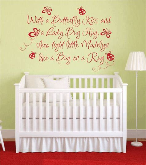 Wall Decal Quotes For Nursery Butterfly Ladybug Hug Vinyl Wall Decal Baby Nursery Wall Quote Personalized Name Wall Decal
