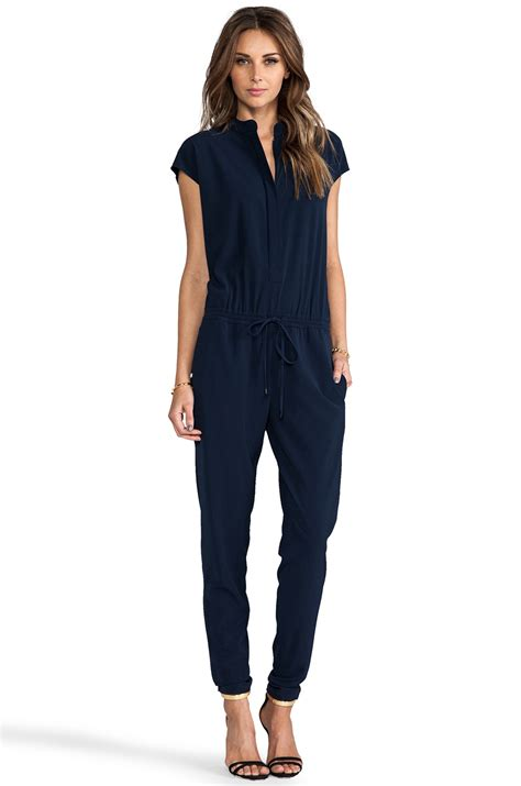 Yumico 3 In 1 Jumpsuit vince jumpsuit in navy in blue lyst