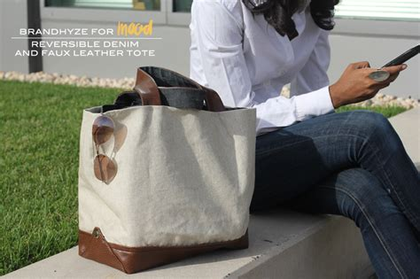 mood diy reversible denim and faux leather tote mood