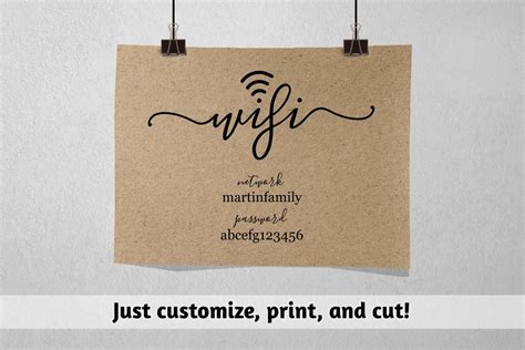 Wifi Password Printable Template Wifi Password Sign Print Pdf Instant Download Digital Wifi Sign Template