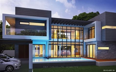 Two Storey Floor Plan Modern Style 2 Story Home Plans For Construction In Thai