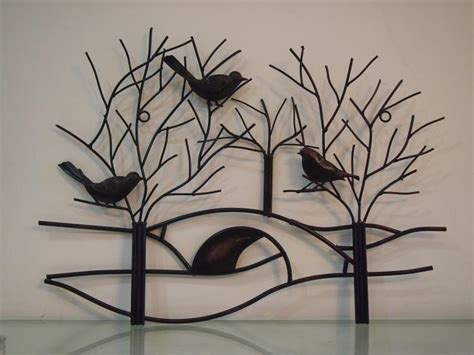 unique branch wall art decor rustic metal tree branch with birds wall art hand forged