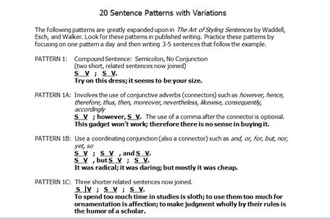 Pattern Sentences 1 20 | sentence structure and styling sentences jeriwb