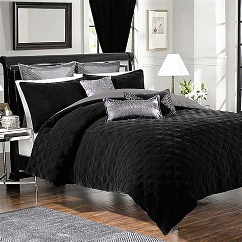 buy velvet comforter and sham set in black from bed bath