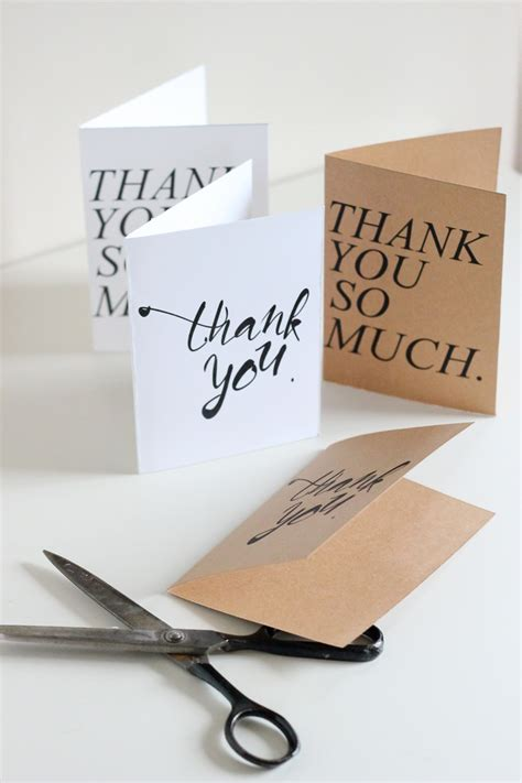 easy thank you card template free printable thank you cards