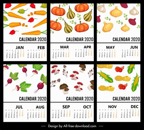 calendar templates vegetables theme colorful decor  vector  adobe illustrator ai