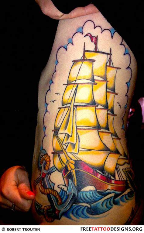 old school ship tattoo designs school ship on a s side