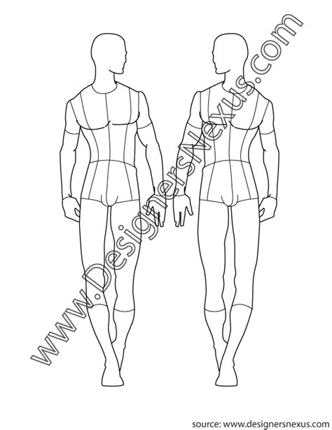 fashion illustration back pose fashion croqui template in front view walking
