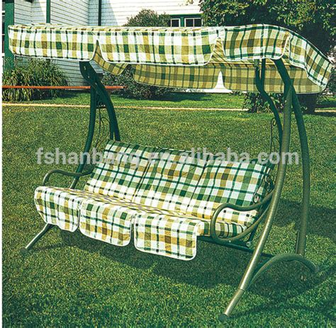 Garden Chair Material by Outdoor Garden Patio Green Stand Line Fabric 3 Seats Swing Chair And Umbrella Buy 3 Person