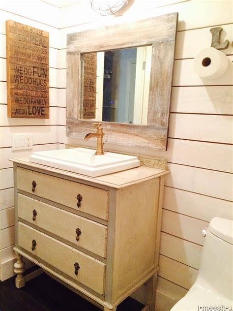 farmhouse bathroom vanity mirror farm house style bathroom with ship walls faux painted weathered wood mirror industrial