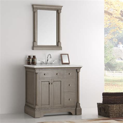 Mirror Bathroom Vanity Fresca Kingston 36 Quot Antique Silver Traditional Bathroom Vanity W Mirror