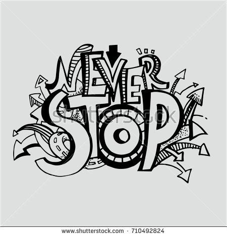 Bj Never Stop Black country lettering doodles elements stock vector 293836652