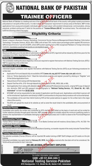 trainee bank trainee officers in national bank of pakistan 2018