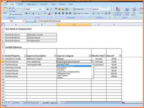 rental property spreadsheet template 9 rental property spreadsheet template excel