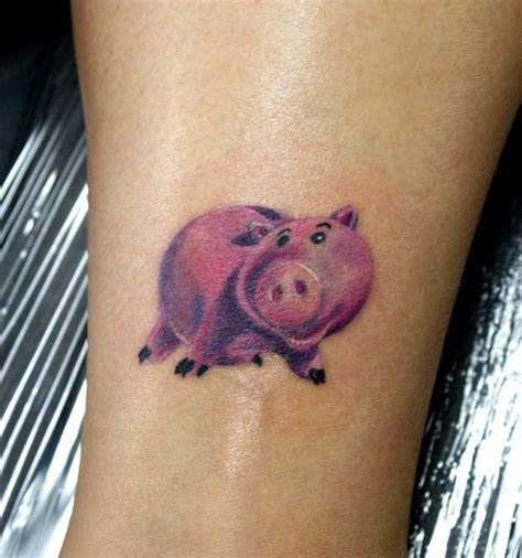 small size tattoos rosy piggy bank colored detailed small size