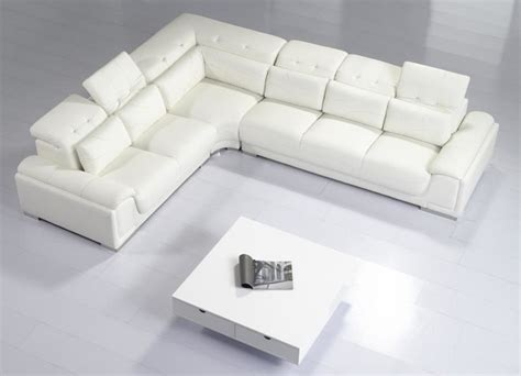 modern white couches modern white leather sectional sofa with adjustable tufted