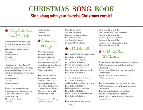 printable christmas carols printable christmas caroling songbook christmas carol