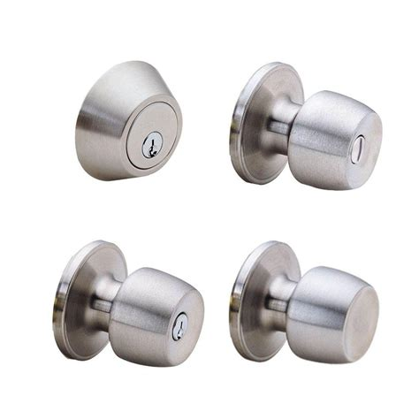 Defiant Door Knobs by Defiant Brandywine Stainless Steel House Pack With 2 Entry