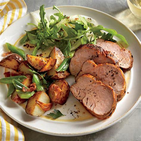 spiced pork tenderloin roasted potatoes green onions