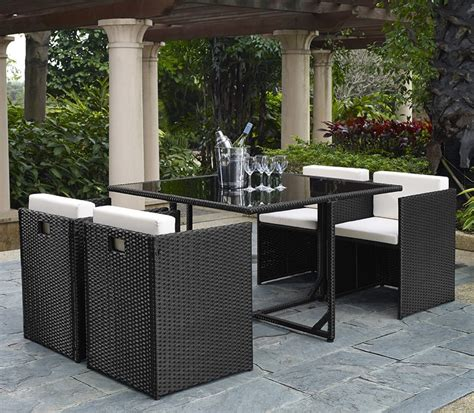 5 Piece Rattan Cube Garden Furniture Set W Stowaway Chairs Patio Furniture 5 Set