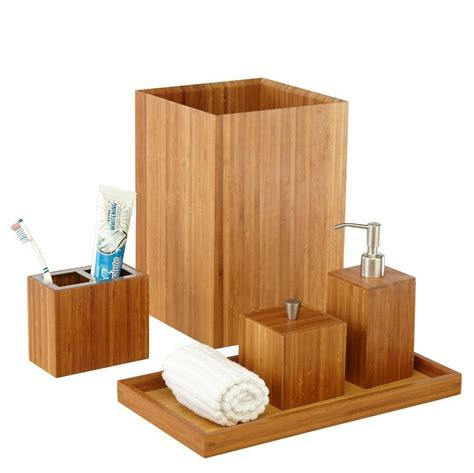 seville classics bamboo bath  vanity set  pcs bathroom accessory holder ebay