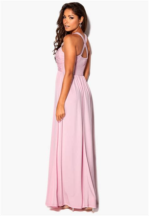 A5146 Maxi Innaya Pink Baby chiara forthi rochelle gathered maxi dress baby pink bubbleroom