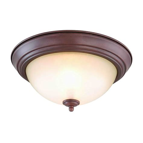 Electric Ceiling Lights Commercial Electric 2 Light Nutmeg Flushmount Set Of 2 Efg8012a Ntmg The Home Depot
