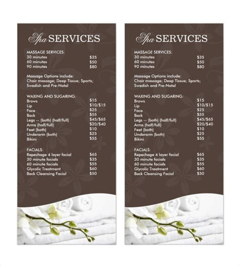 spa menu template 24 spa menu templates free sle exle format